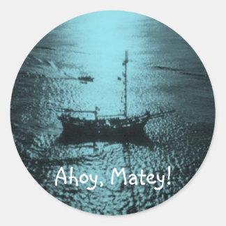 Ahoy Matey envelope seals blue Classic Round Sticker