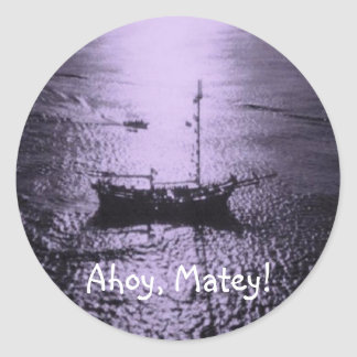 Ahoy Matey envelope seals purple Round Sticker