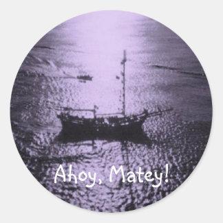Ahoy Matey envelope seals purple Round Sticker