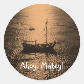 Ahoy Matey envelope seals Classic Round Sticker