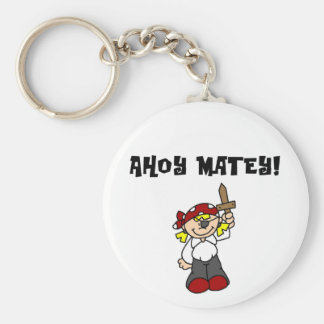 Ahoy Matey Girl Pirate Tshirts and Gifts Basic Round Button Key Ring