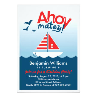 Ahoy Matey Nautical  Birthday Party Invitation
