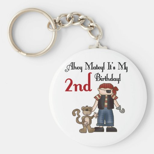 Ahoy Matey Pirate 2nd Birthday tshirts and Gifts Key Chain