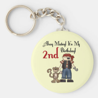 Ahoy Matey Pirate 2nd Birthday tshirts and Gifts Basic Round Button Key Ring