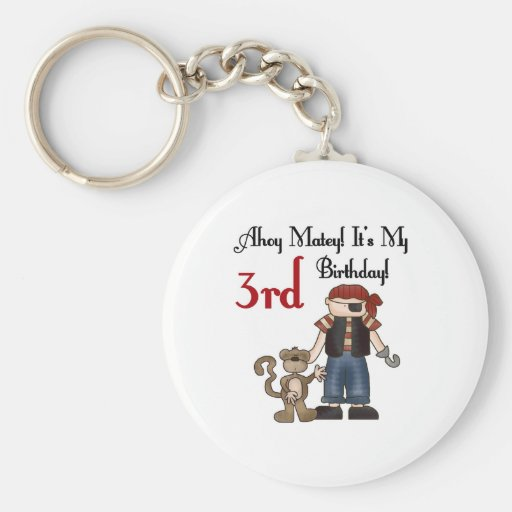 Ahoy Matey Pirate 3rd Birthday Tshirts and Gifts Keychains
