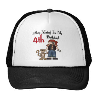 Ahoy Matey Pirate 4th Birthday Tshirts and Gifts Cap