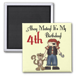 Ahoy Matey Pirate 4th Birthday Tshirts and Gifts Square Magnet
