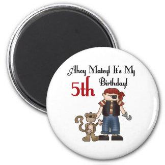 Ahoy Matey Pirate 5th Birthday 6 Cm Round Magnet