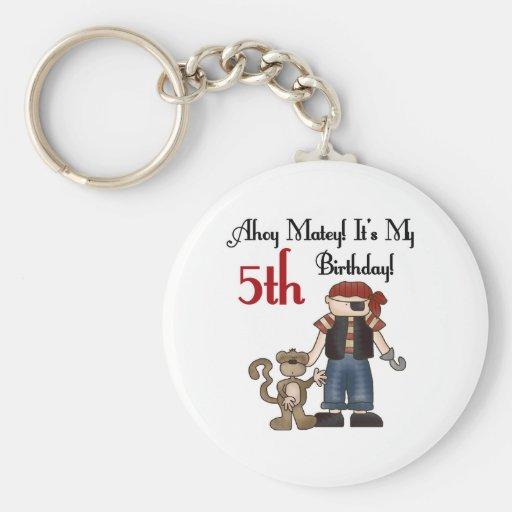 Ahoy Matey Pirate 5th Birthday Key Chains