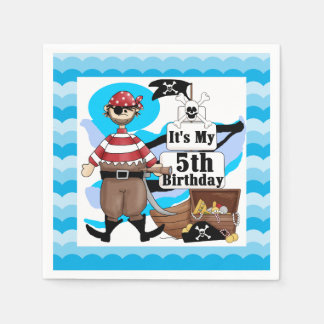 Ahoy Matey Pirate 5th Birthday Paper Napkins
