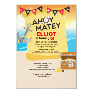 Ahoy Matey Pirate Invitation
