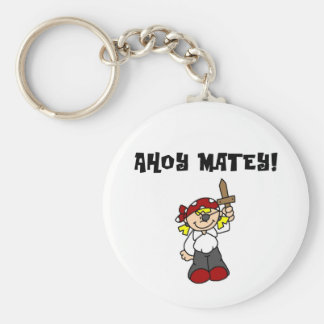 Ahoy Matey Pirate Basic Round Button Key Ring