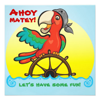 Ahoy Matey Pirate Parrot Birthday Party Invitation