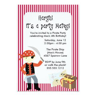 "{ahoy, matey!} pirate party invitation 5"" x 7"" invitation card"