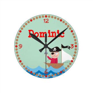 Ahoy Matey! Pirate Personalized Kids Wall Clocks