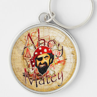 Ahoy Matey Pirate Silver-Colored Round Key Ring