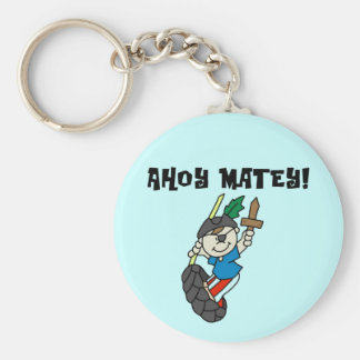 Ahoy Matey Pirate T-shirts and Gifts Basic Round Button Key Ring