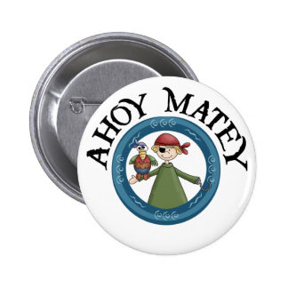Ahoy Matey Pirate with Parrot Button Button