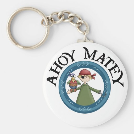 Ahoy Matey Pirate with Parrot Keychain Key Chain