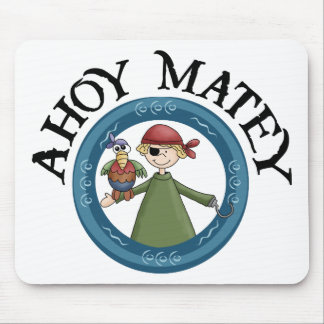 Ahoy Matey Pirate with Parrot Mousepad Mouse Pads