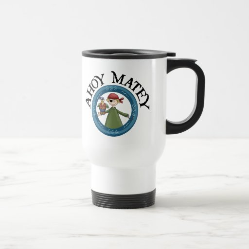 Ahoy Matey Pirate with Parrot Mug Coffee Mugs
