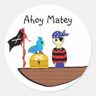 Ahoy Matey Round Sticker