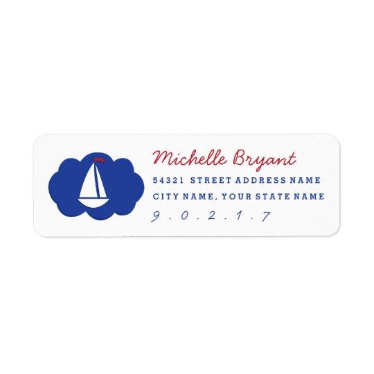 Ahoy Matey Sailboat Red White Blue Address Label