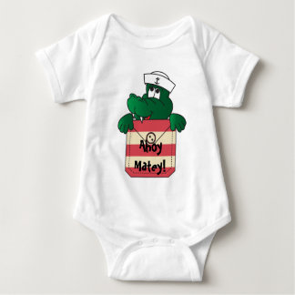 Ahoy Matey Sailor Alligator Pocket Peeker Baby Bodysuit