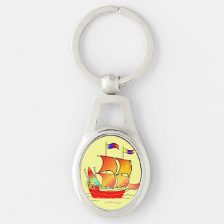 Ahoy, Matey! Silver-Colored Oval Key Ring