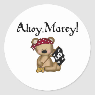 Ahoy Matey Teddy Bear Pirate Stickers
