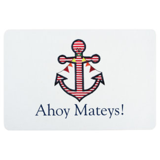 Ahoy Mateys Nautical Anchor & Red Stripes Welcome Floor Mat