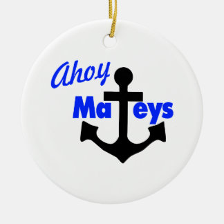 Ahoy Mateys With Anchor Double-Sided Ceramic Round Christmas Ornament