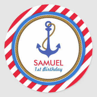 AHOY! Nautical Birthday Baby Shower Classic Round Sticker