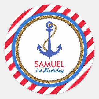AHOY! Nautical Birthday Baby Shower Round Sticker