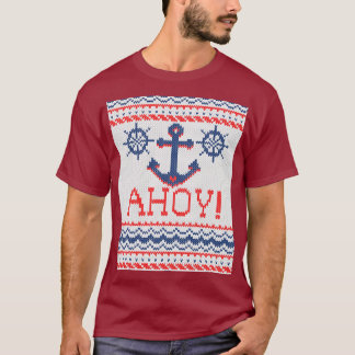 AHOY Nautical Knitting Christmas Jumper Style T-Shirt