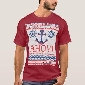 AHOY Nautical Knitting Christmas Jumper Style T-Shirt