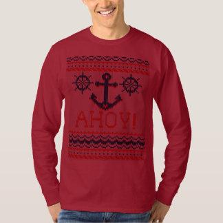 AHOY Nautical Knitting Christmas Jumper Style Tee Shirts