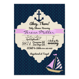Ahoy There! Girl Baby Shower Invitation