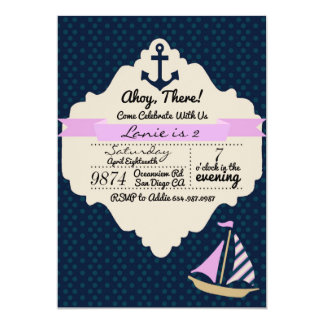 Ahoy There! Girl Birthday Invitation