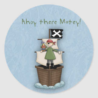 Ahoy There Matey!      Pirate Party Round Sticker