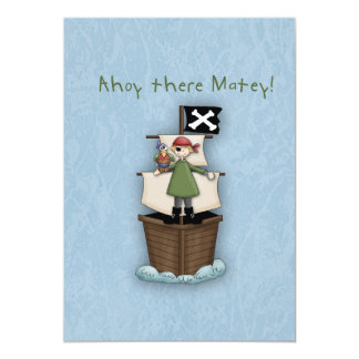 Ahoy There Matey Thank you note 13 Cm X 18 Cm Invitation Card