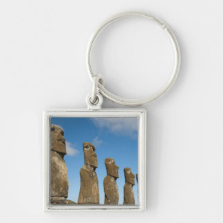 Ahu Akivi, Rapa Nui, Easter Island, Chile 2 Silver-Colored Square Key Ring