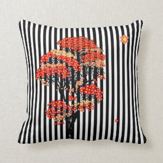 AI Flowers Tree on Black and White Vertical Stripe Cushion