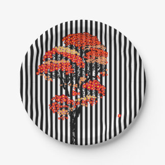 AI Flowers Tree on Black and White Vertical Stripe Paper Plate