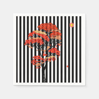AI Flowers Tree on Black and White Vertical Stripe Paper Serviettes