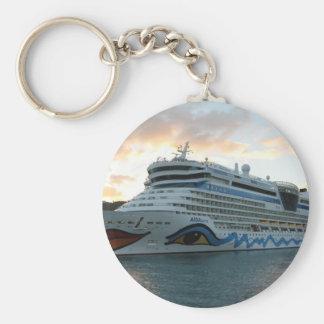 AIDAluna Cruise Ship in Road Town on Tortola Basic Round Button Key Ring