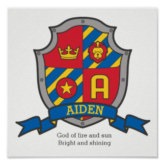 Aiden boys name and meaning shield poster