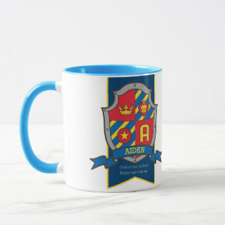 Aiden knight shield red blue name meaning A mug