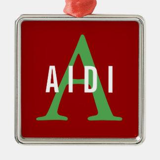 Aidi Breed Monogram Silver-Colored Square Decoration