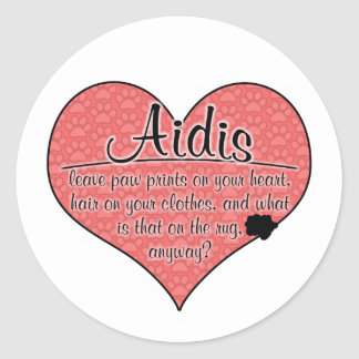 Aidi Paw Prints Dog Humor Round Sticker